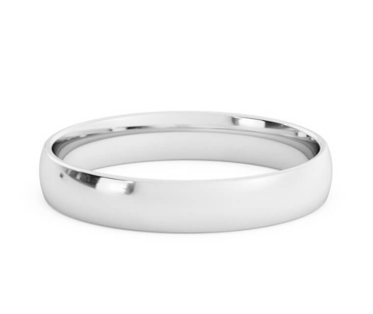 10K White Gold Low Dome, Comfort Fit Ring - 3.5mm