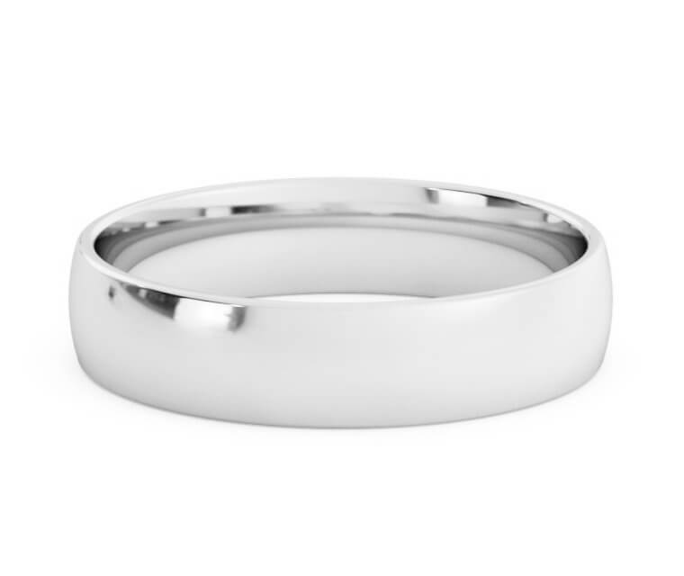18K White Gold Low Dome, Comfort Fit Ring - 4.5mm