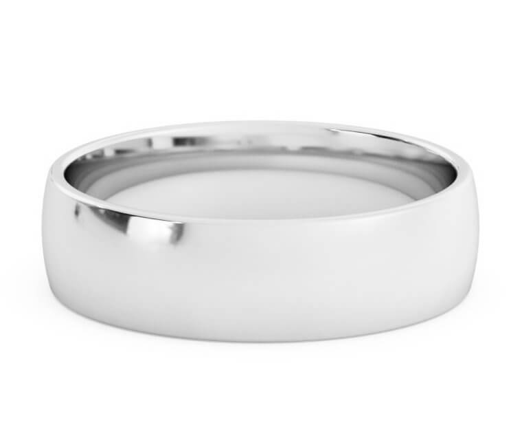 10K White Gold Low Dome, Comfort Fit Ring - 5.5mm