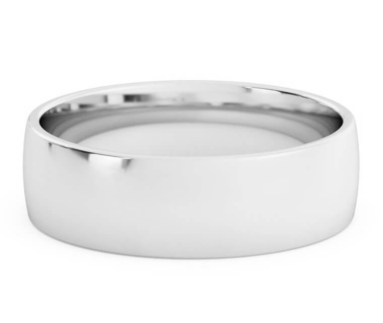 18K White Gold Low Dome, Comfort Fit Ring - 6.5mm