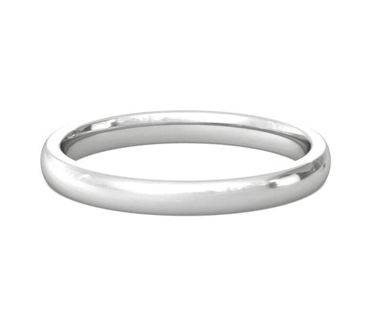 14K White Gold Heavy, Domed, Comfort Fit Ring - 2.5mm