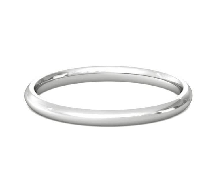 14K White Gold Domed, Comfort Fit Ring - 2mm