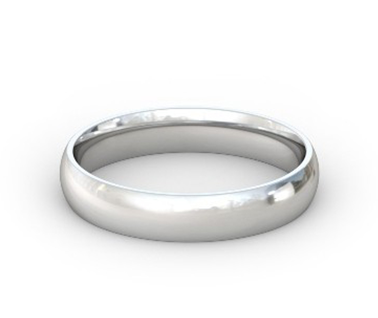 14K White Gold Domed, Comfort Fit Ring - 4mm