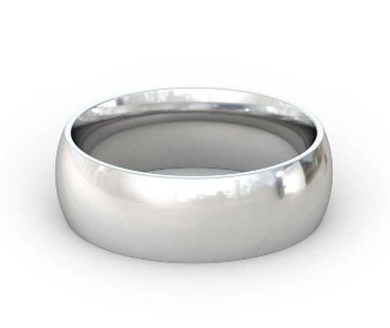 14K White Gold Domed, Comfort Fit Ring - 7mm