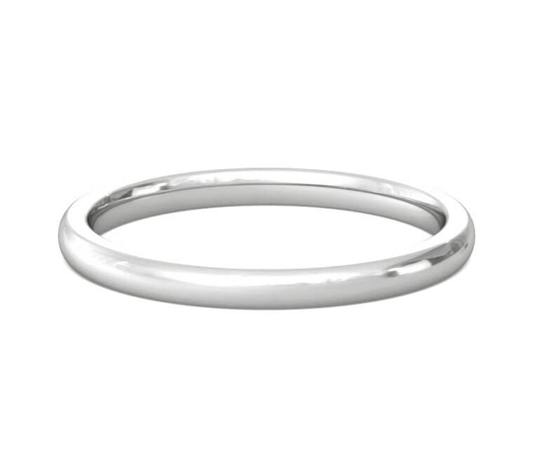 18K White Gold Heavy, Domed, Comfort Fit Ring - 2mm