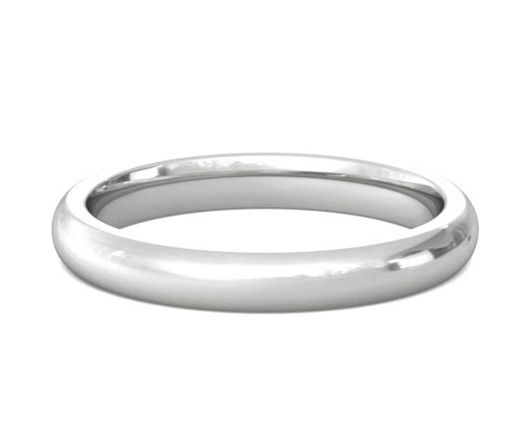 18K White Gold Heavy, Domed, Comfort Fit Ring - 3mm