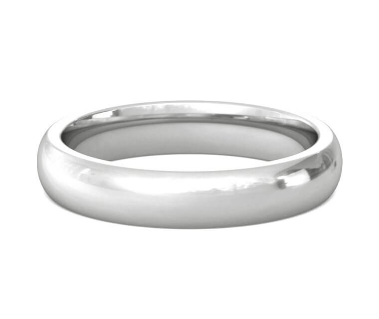 18K White Gold Heavy, Domed, Comfort Fit Ring - 4mm