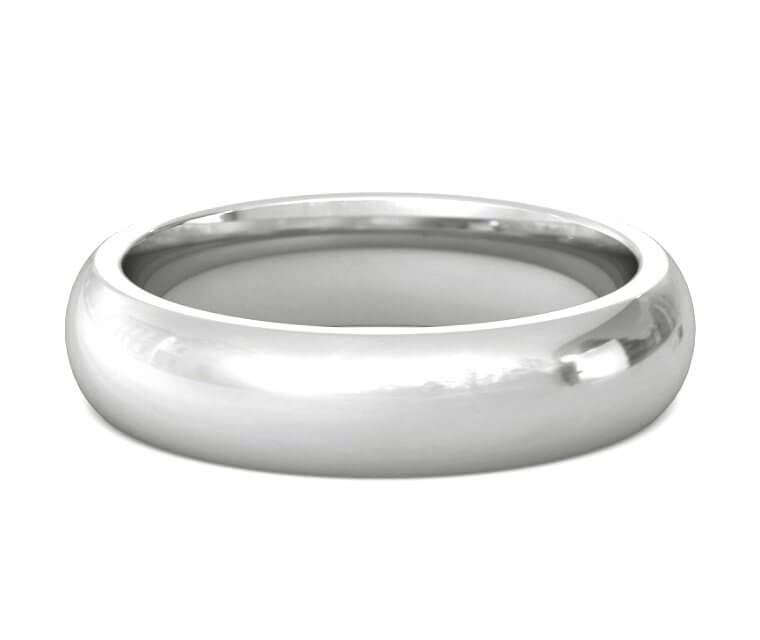 18K White Gold Heavy, Domed, Comfort Fit Ring - 5mm
