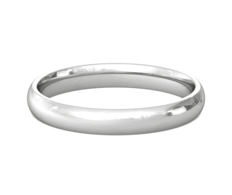 18K White Gold Domed, Comfort Fit Ring - 3mm