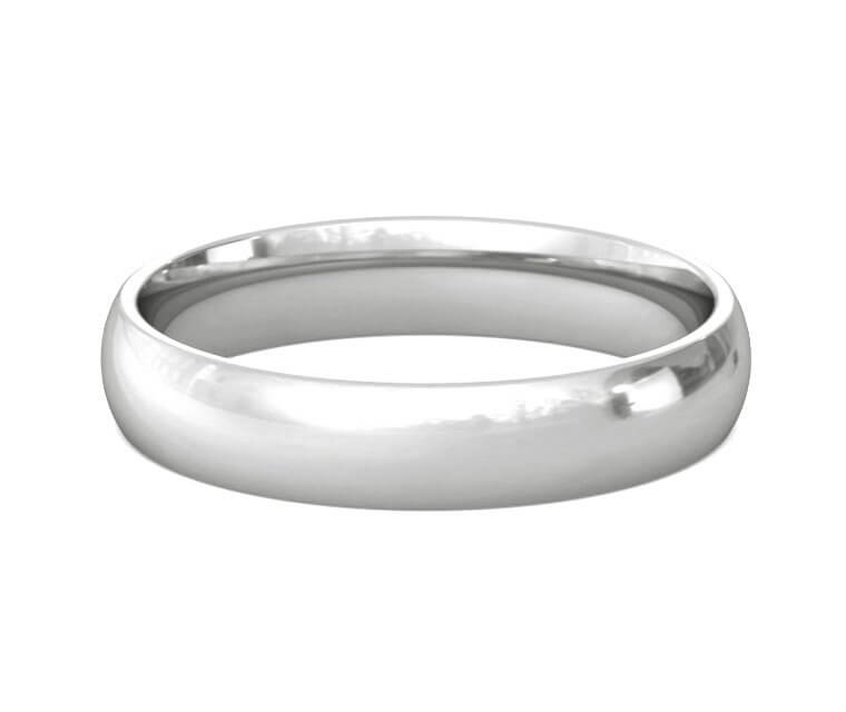 18K White Gold Domed, Comfort Fit Ring - 4mm