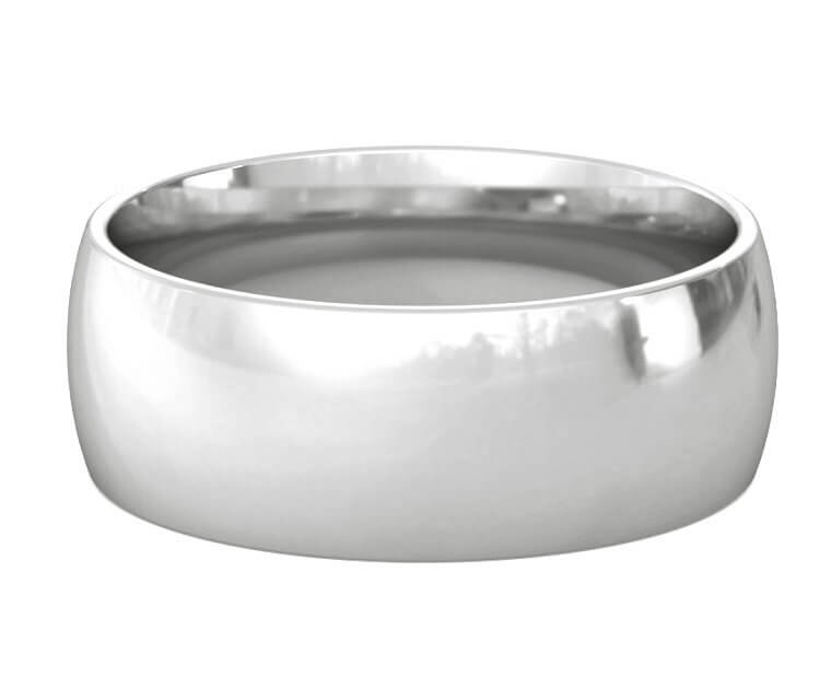 18K White Gold Domed, Comfort Fit Ring - 8mm