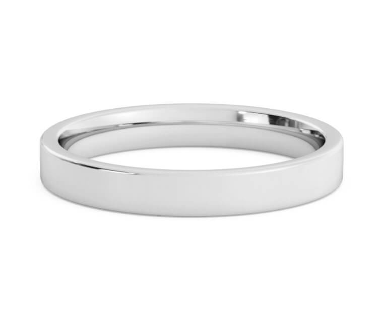 18K White Gold Flat, Comfort Fit Ring - 3mm