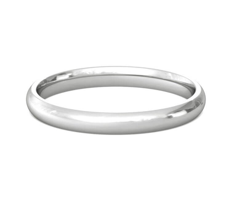 18K White Gold Domed, Comfort Fit Ring - 2.5mm