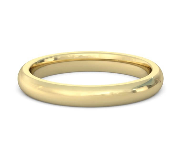 10K Yellow Gold Heavy, Domed, Comfort Fit Ring - 3mm