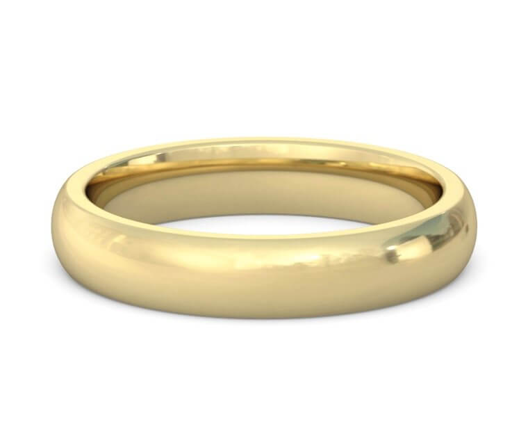 10K Yellow Gold Heavy, Domed, Comfort Fit Ring - 4mm