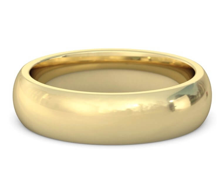 10K Yellow Gold Heavy, Domed, Comfort Fit Ring - 6mm