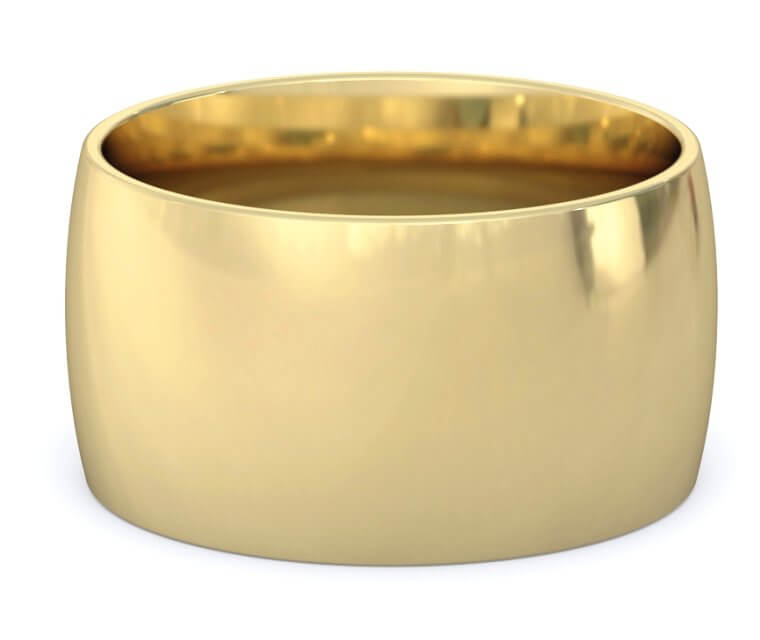 10K Yellow Gold Domed, Comfort Fit Ring - 12mm