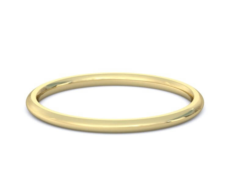 10K Yellow Gold Domed, Comfort Fit Ring - 1.5mm