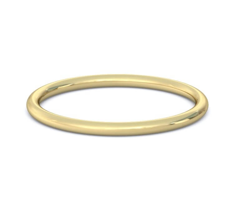 1mm 10K Yellow Gold Domed, Comfort Fit
