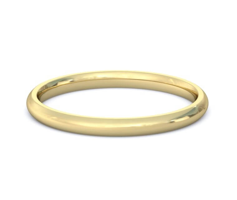 10K Yellow Gold Domed, Comfort Fit Ring - 2mm