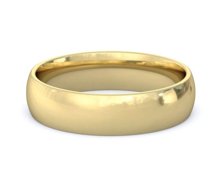 10K Yellow Gold Domed, Comfort Fit Ring - 5mm
