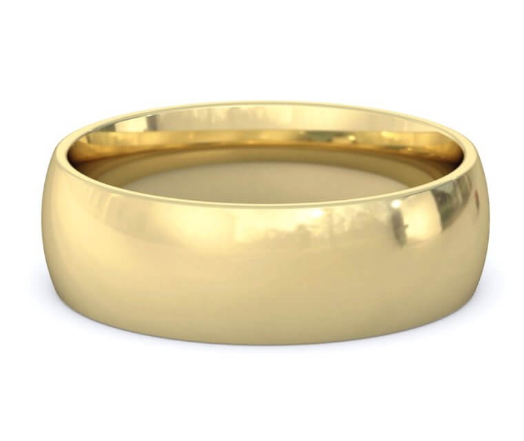 10K Yellow Gold Domed, Comfort Fit Ring - 7mm
