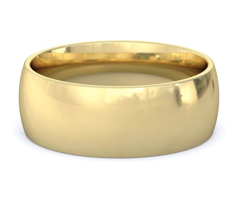 10K Yellow Gold Domed, Comfort Fit Ring - 8mm