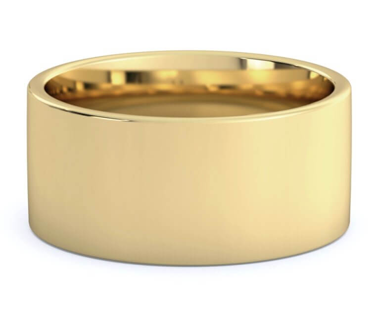 10K Yellow Gold Flat, Comfort Fit Ring - 10mm