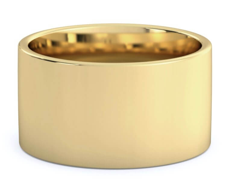10K Yellow Gold Flat, Comfort Fit Ring - 12mm