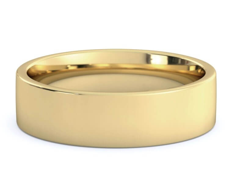 10K Yellow Gold Flat, Comfort Fit Ring - 6mm