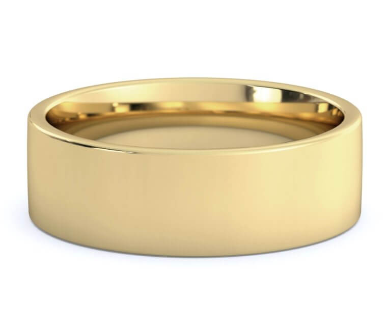 10K Yellow Gold Flat, Comfort Fit Ring - 7mm