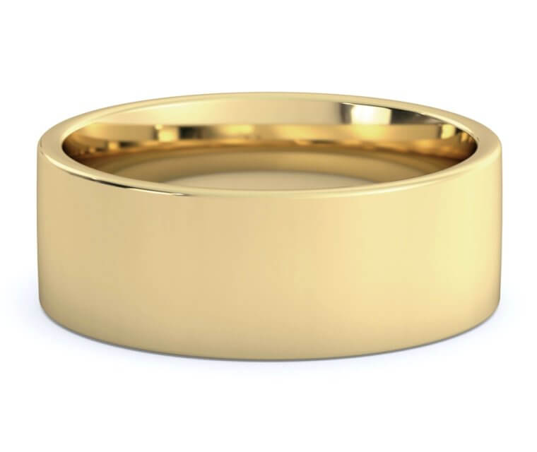 10K Yellow Gold Flat, Comfort Fit Ring - 8mm