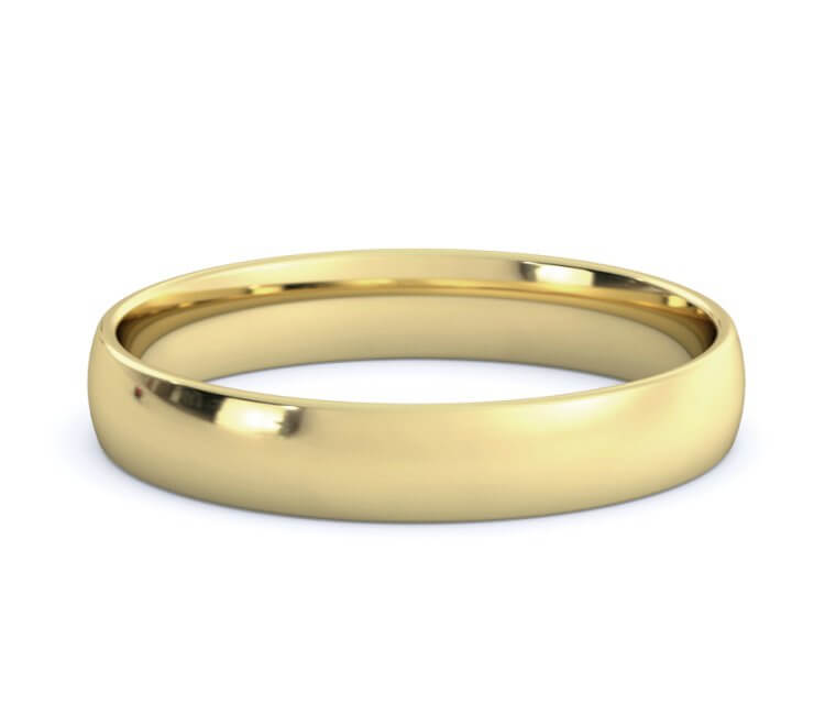 10K Yellow Gold Low Dome, Comfort Fit Ring - 3.5mm