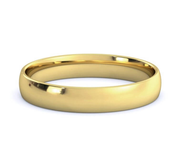 18K Yellow Gold Low Dome, Comfort Fit Ring - 3.5mm