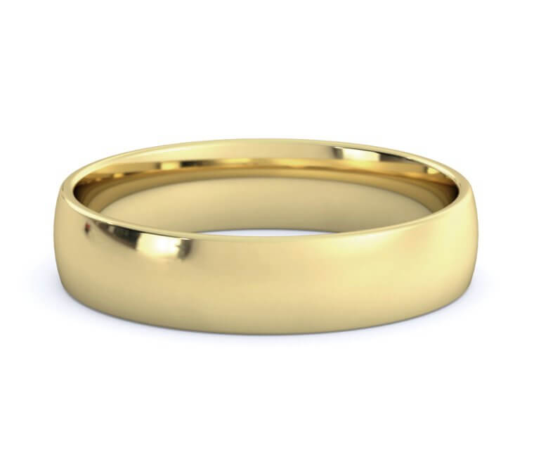 10K Yellow Gold Low Dome, Comfort Fit Ring - 4.5mm