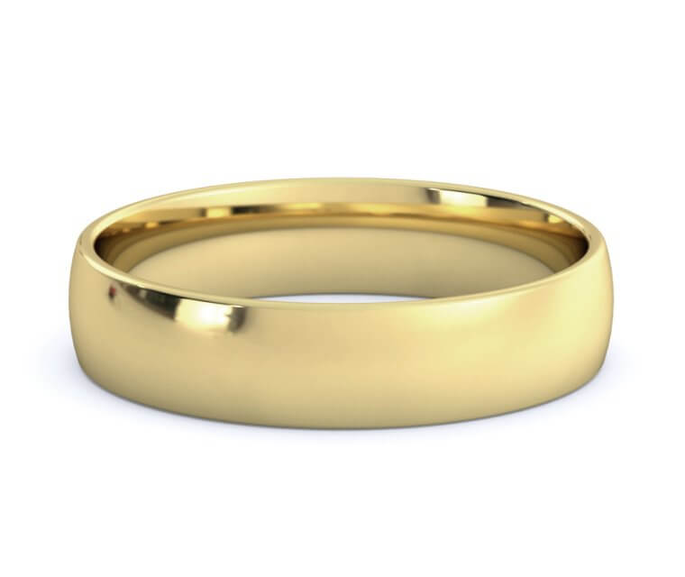 14K Yellow Gold Low Dome, Comfort Fit Ring - 4.5mm