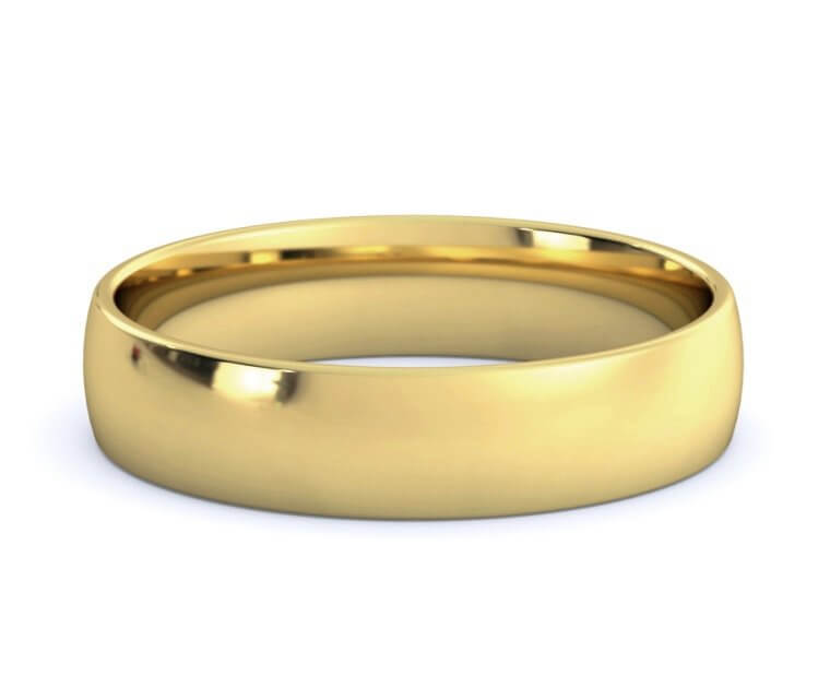 18K Yellow Gold Low Dome, Comfort Fit Ring - 4.5mm