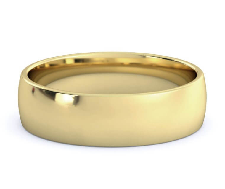 10K Yellow Gold Low Dome, Comfort Fit Ring - 5.5mm