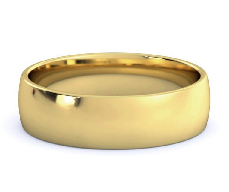 18K Yellow Gold Low Dome, Comfort Fit Ring - 5.5mm