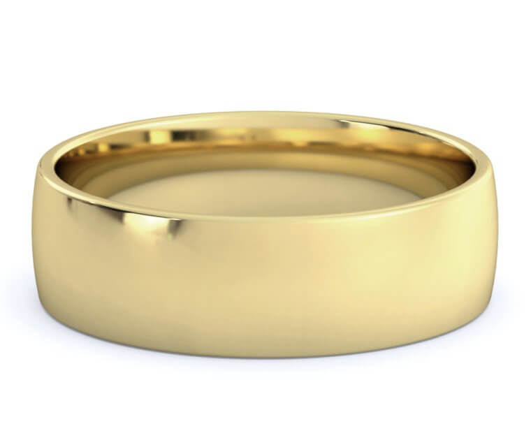 10K Yellow Gold Low Dome, Comfort Fit Ring - 6.5mm