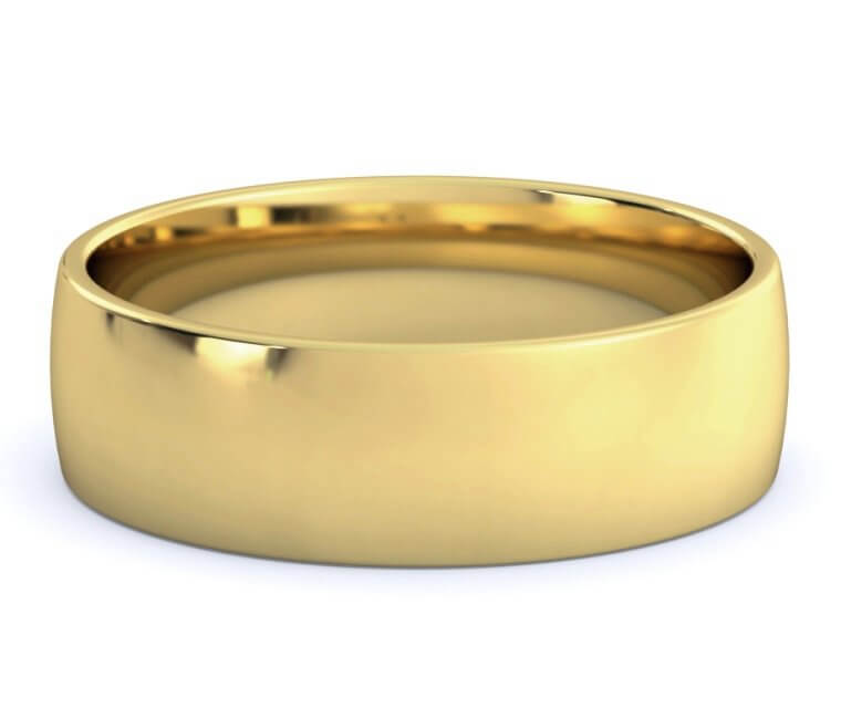 18K Yellow Gold Low Dome, Comfort Fit Ring - 6.5mm
