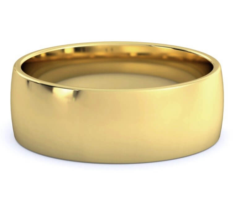 18K Yellow Gold Low Dome, Comfort Fit Ring - 7.5mm