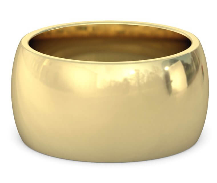 14K Yellow Gold Heavy, Domed, Comfort Fit Ring - 12mm