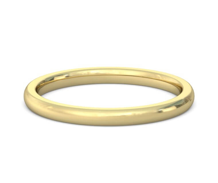 14K Yellow Gold Heavy, Domed, Comfort Fit Ring - 2mm