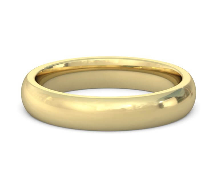 14K Yellow Gold Heavy, Domed, Comfort Fit Ring - 4mm