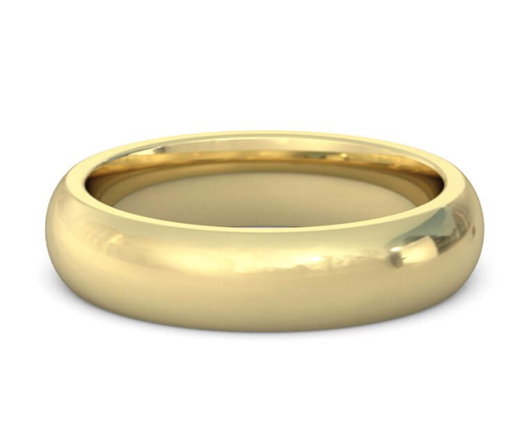 14K Yellow Gold Heavy, Domed, Comfort Fit Ring - 5mm
