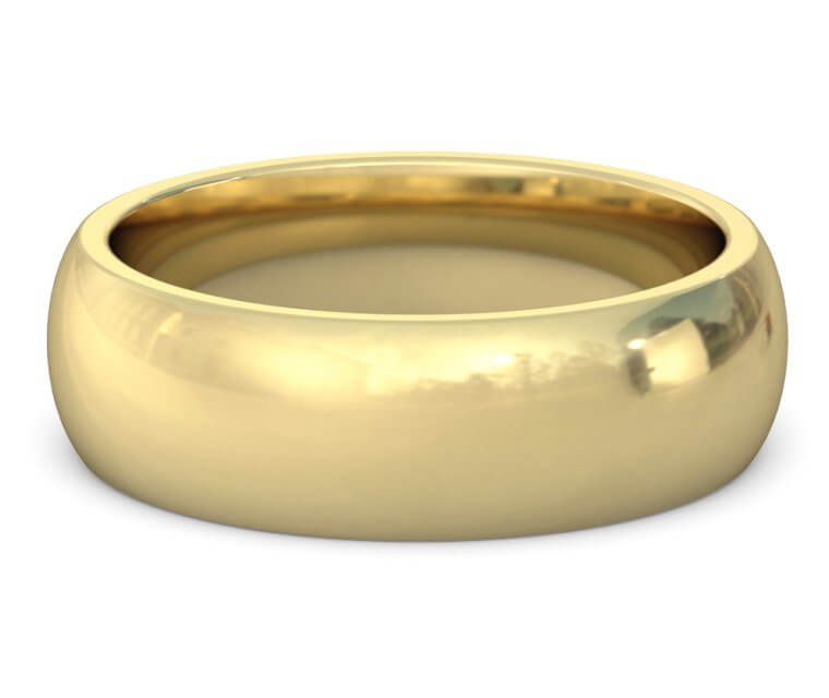 14K Yellow Gold Heavy, Domed, Comfort Fit Ring - 7mm