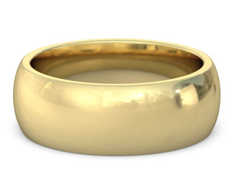14K Yellow Gold Heavy, Domed, Comfort Fit Ring - 8mm
