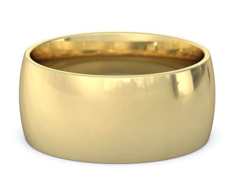 14K Yellow Gold Domed, Comfort Fit Ring - 10mm