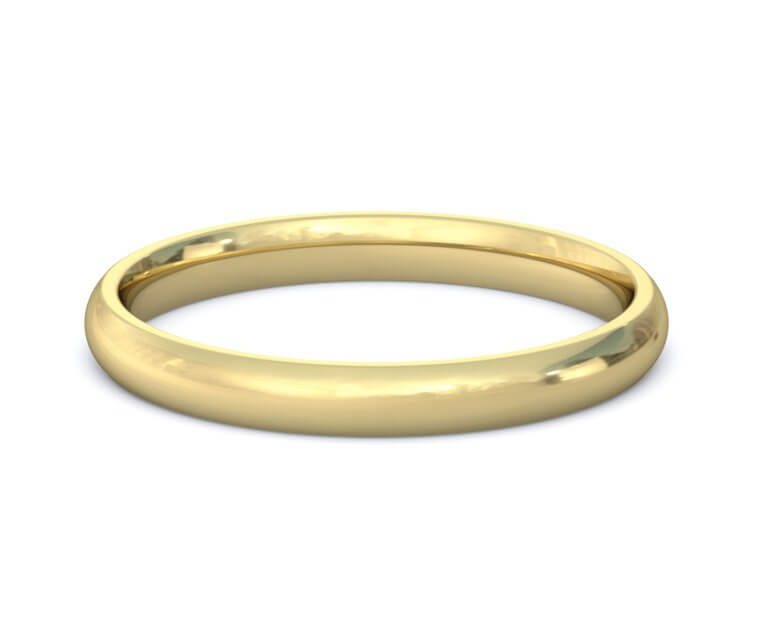 2.5mm 14K Yellow Gold Domed, Comfort Fit